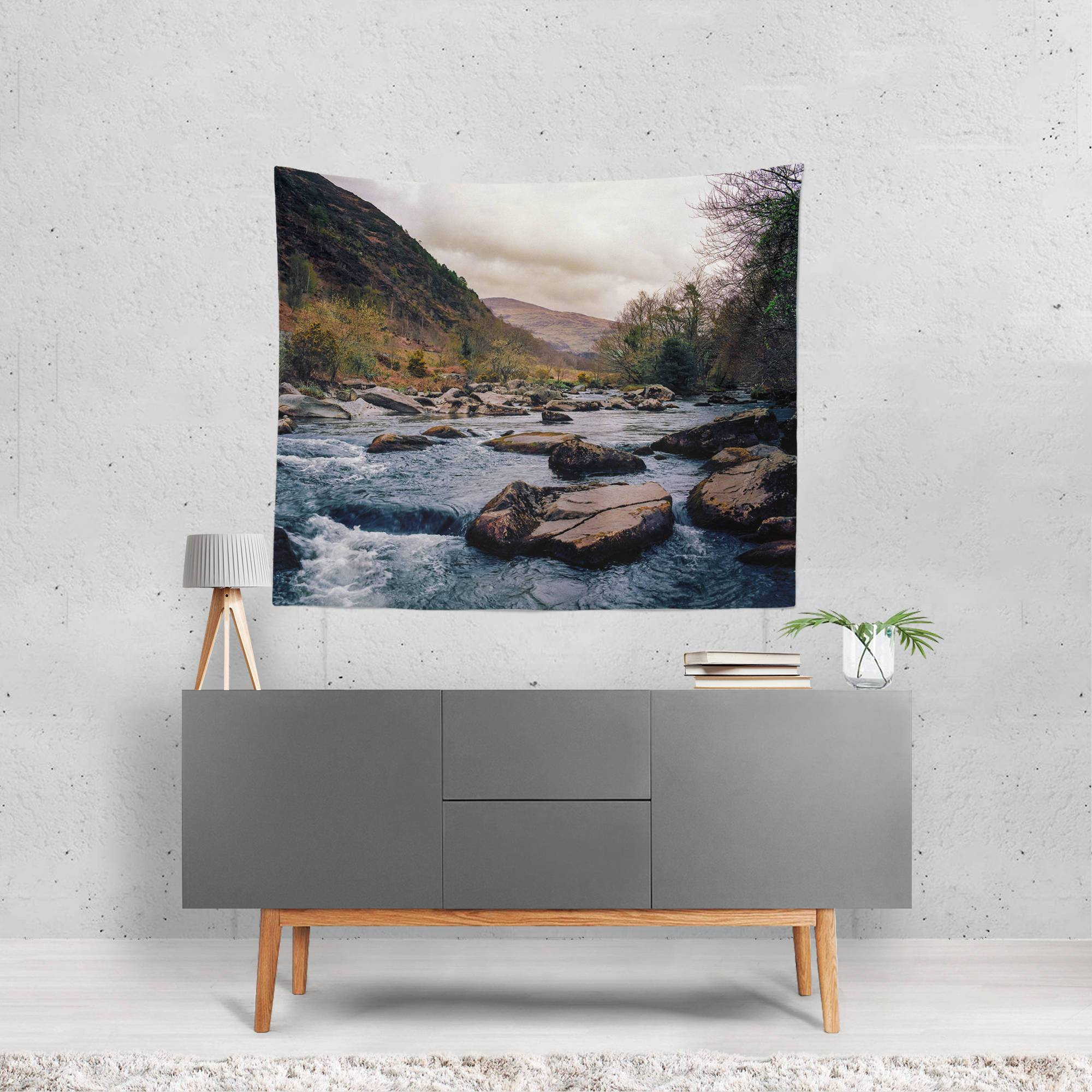 Take Me Away, Rocky Riverbed Wall Tapestry Lost In Nature