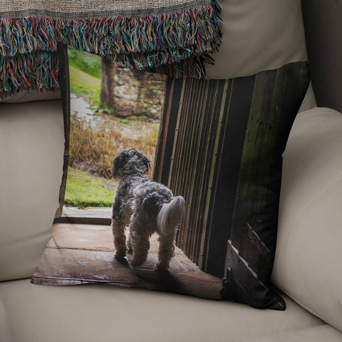Terrier Throw Pillow Cover Lost in Nature
