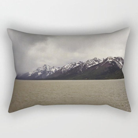 Teton Mountains Lake, Rectangular Throw Pillow Lost In Nature
