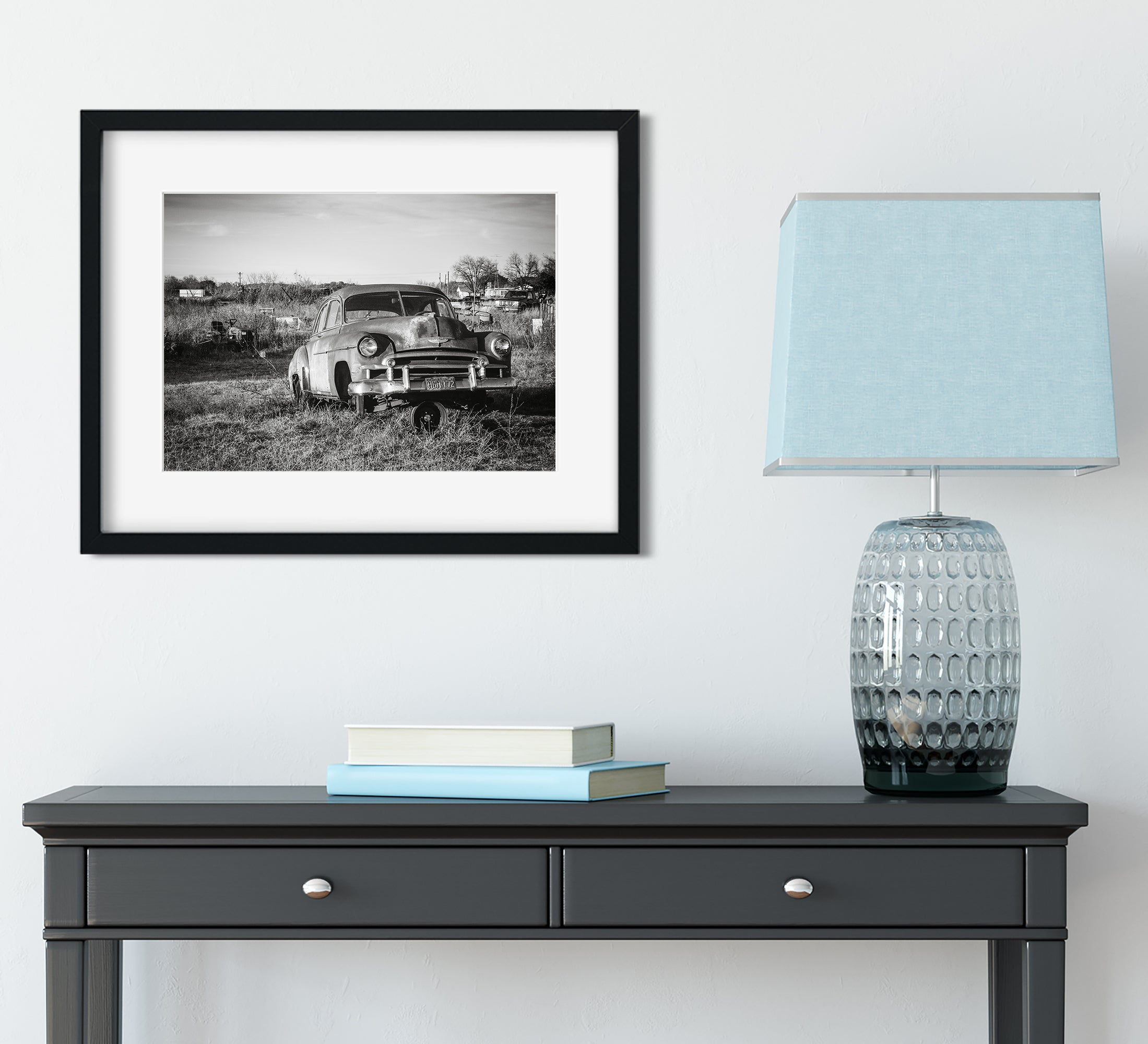 Abandoned Chevy Deluxe Black and White Wall Art Print