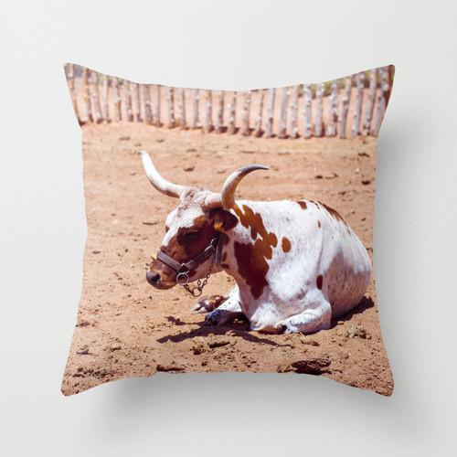 Texas Longhorn Throw Pillow Lost In Nature