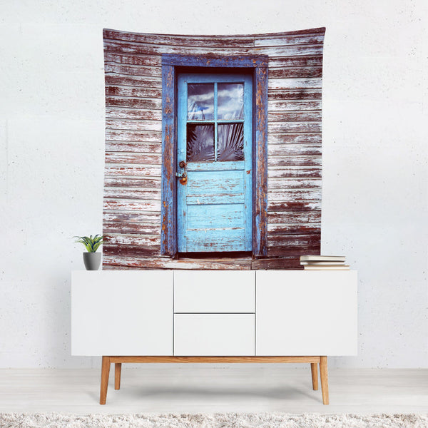 The Blue Door, Rustic Wall Tapestry Lost In Nature