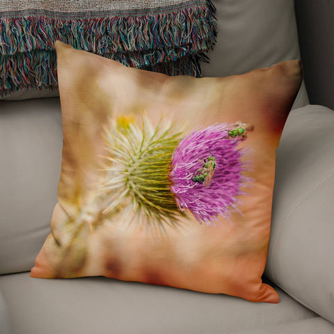 Thistle and Bees Wildflower Throw Pillow Lost in Nature