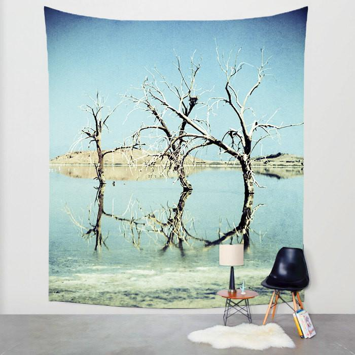 Three Trees, Salton Sea California Wall Tapestry Lost In Nature