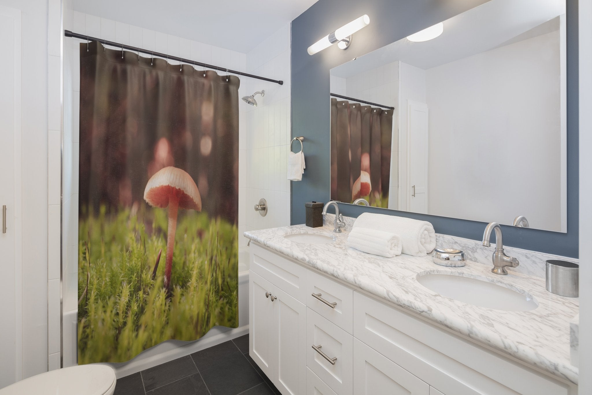 Tiny Mushroom Shower Curtains Printify