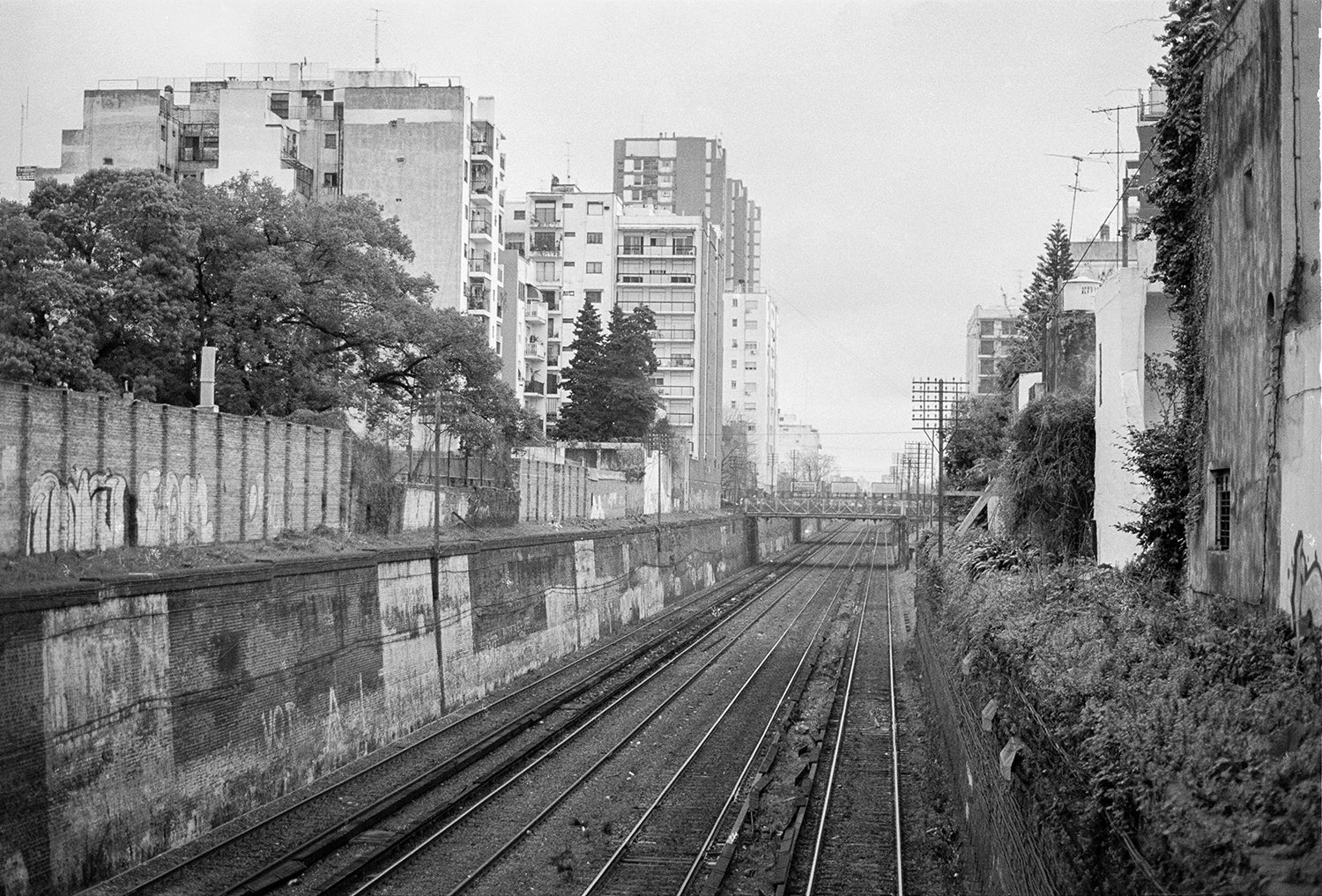 Travel Plans, Train Tracks, Buenos Aires Black and White Art Print