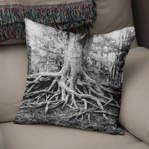 Tree Roots Throw Pillow Cover Lost in Nature