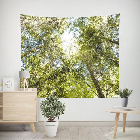Treetops Green Zen Wall Tapestry Lost in Nature