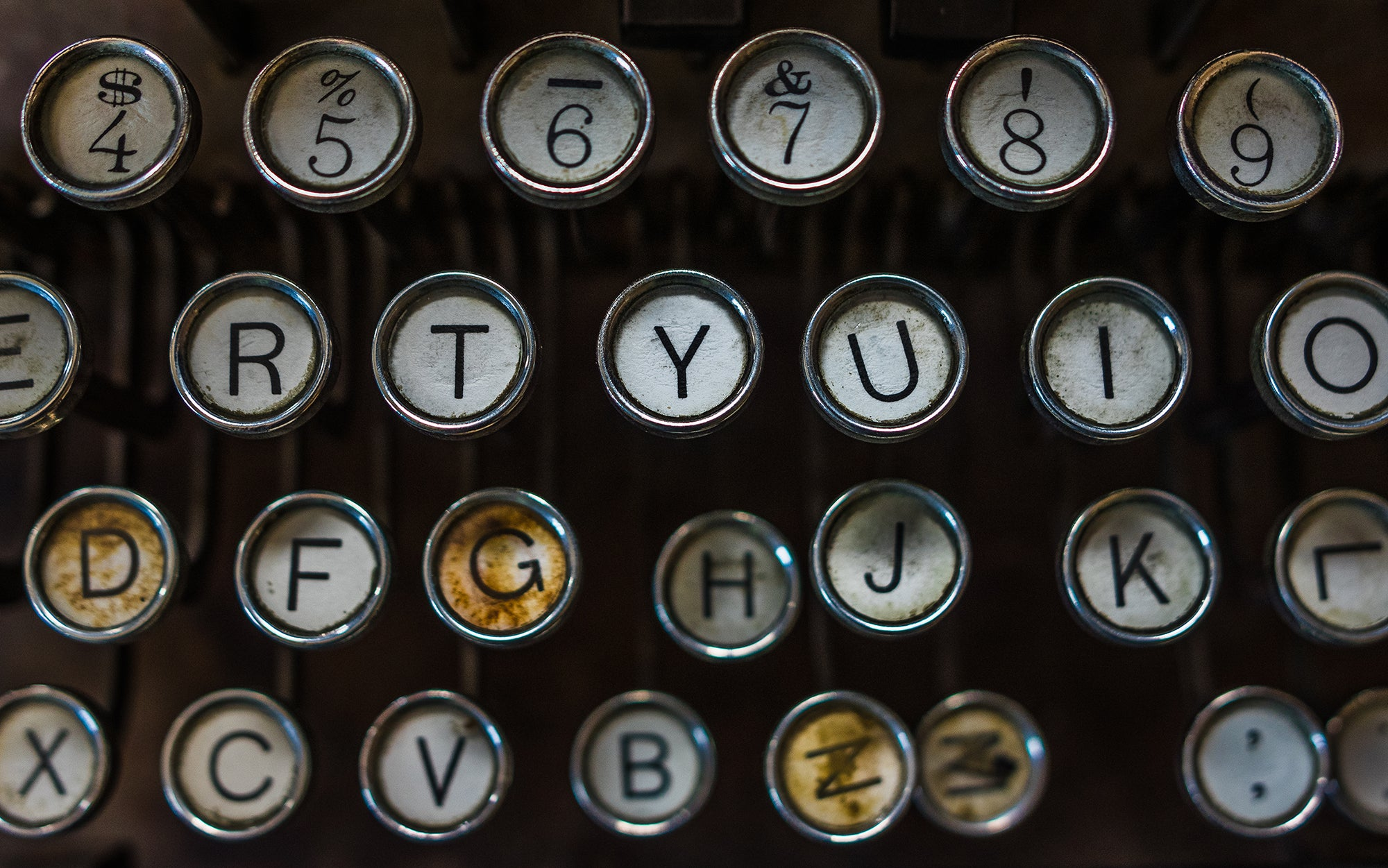 Vintage Typewriter Keys Modern Wall Art Print