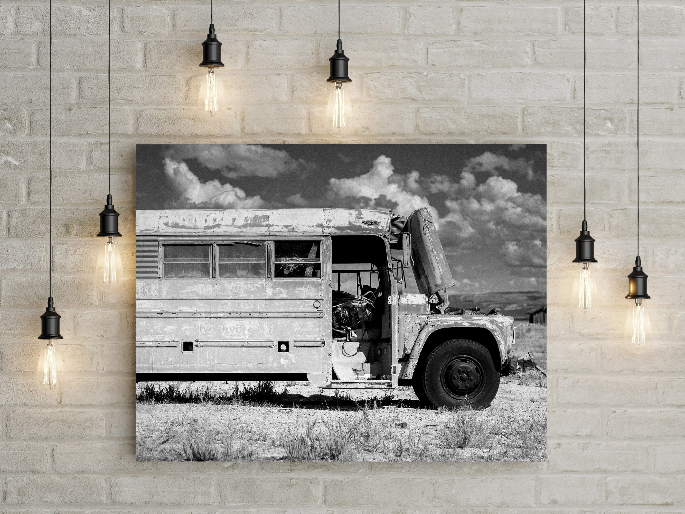 Utah Abandoned School Bus, Black and White Photo Print