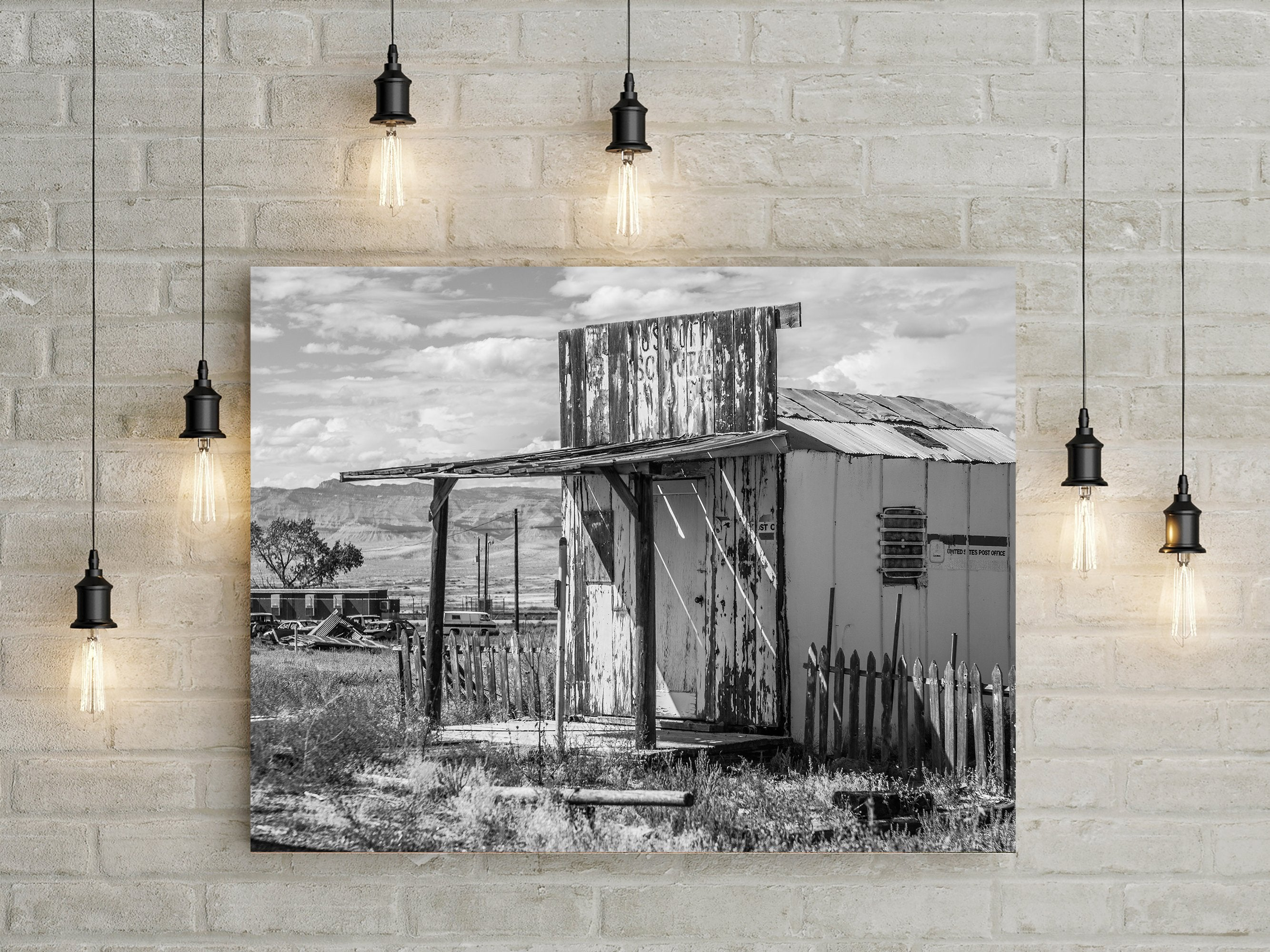 Tiny Post Office, Utah Black and White Photo Print
