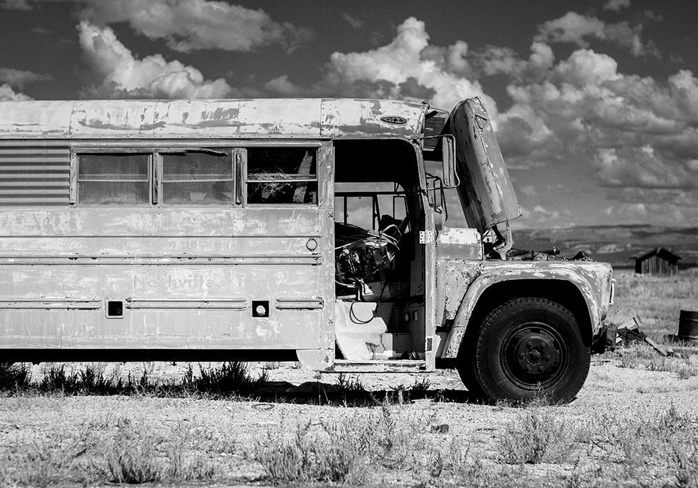 Utah School Bus, Black and White Photography - Fine Art Print Lost Kat Photography