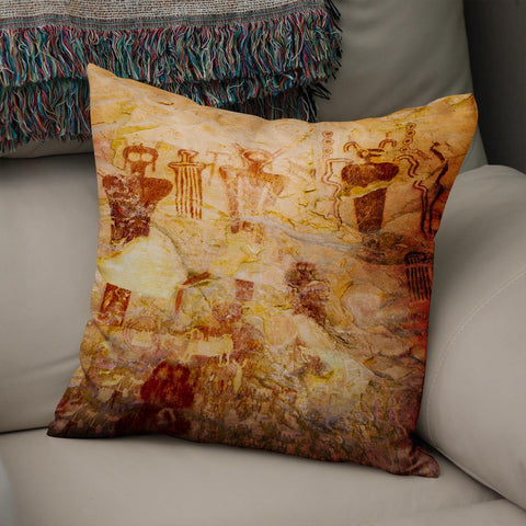 Ute Native American Pictographs Utah Throw Pillow Cover Lost in Nature