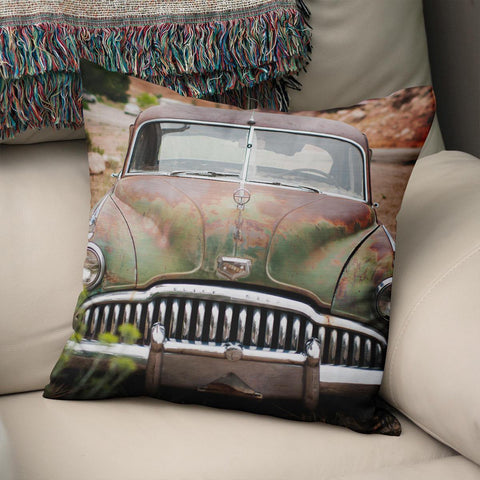 Vintage Buick Automobile Throw Pillow Cover Lost in Nature