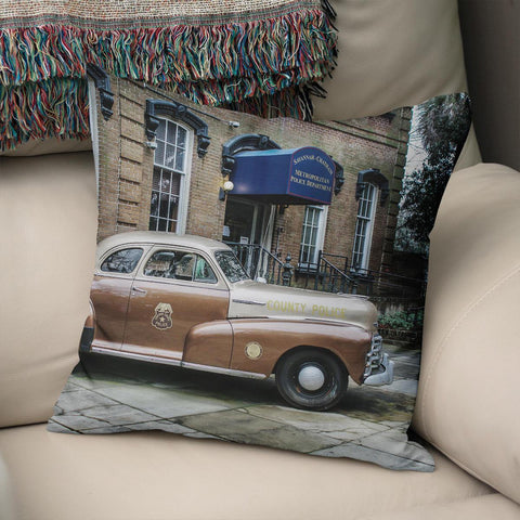 Vintage Police Car Throw Pillow Cover Lost in Nature