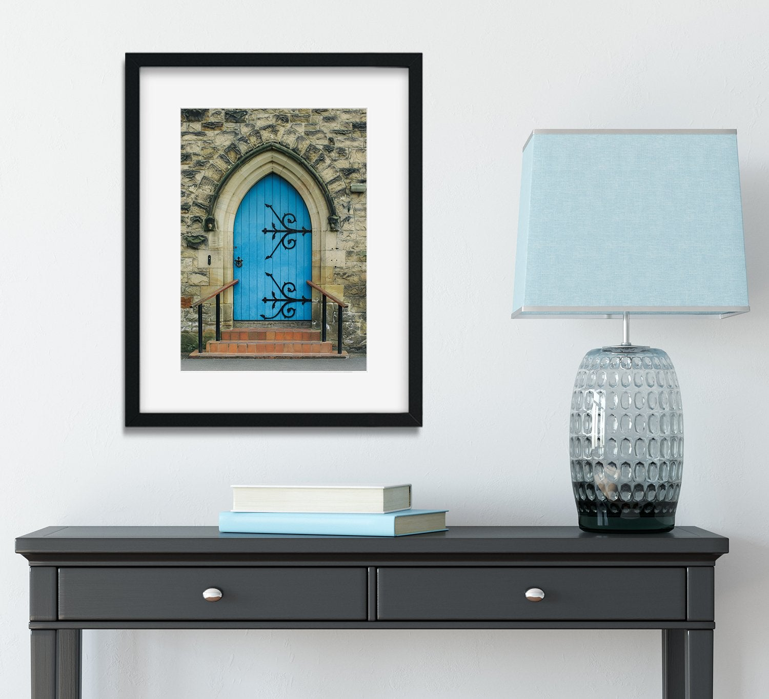 The Blue Church Door, Beddgelert Wales Wall Art Print