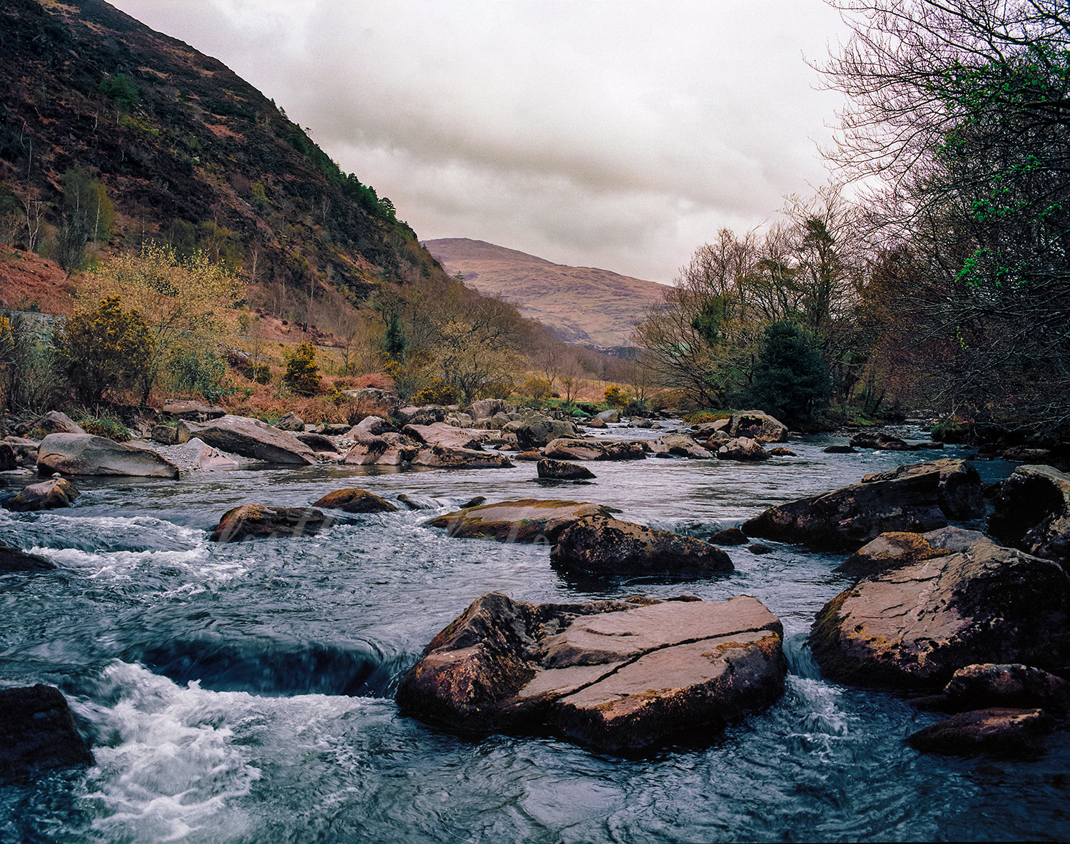 Rocky Blue River in Snowdonia Wales - Photo Print