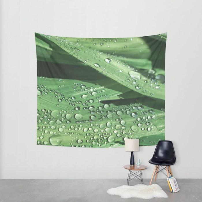 Water Droplets on Leaves, Botanical Wall Tapestry Lost In Nature