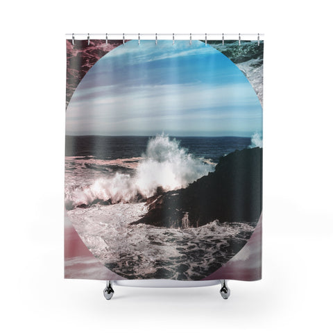 Waves Crazy Shower Curtains 71x74 Printify