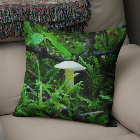 White Mushroom Throw Pillow Cover Lost in Nature