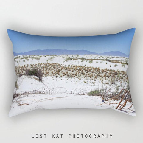 White Sands New Mexico, Rectangular Throw Pillow Lost In Nature