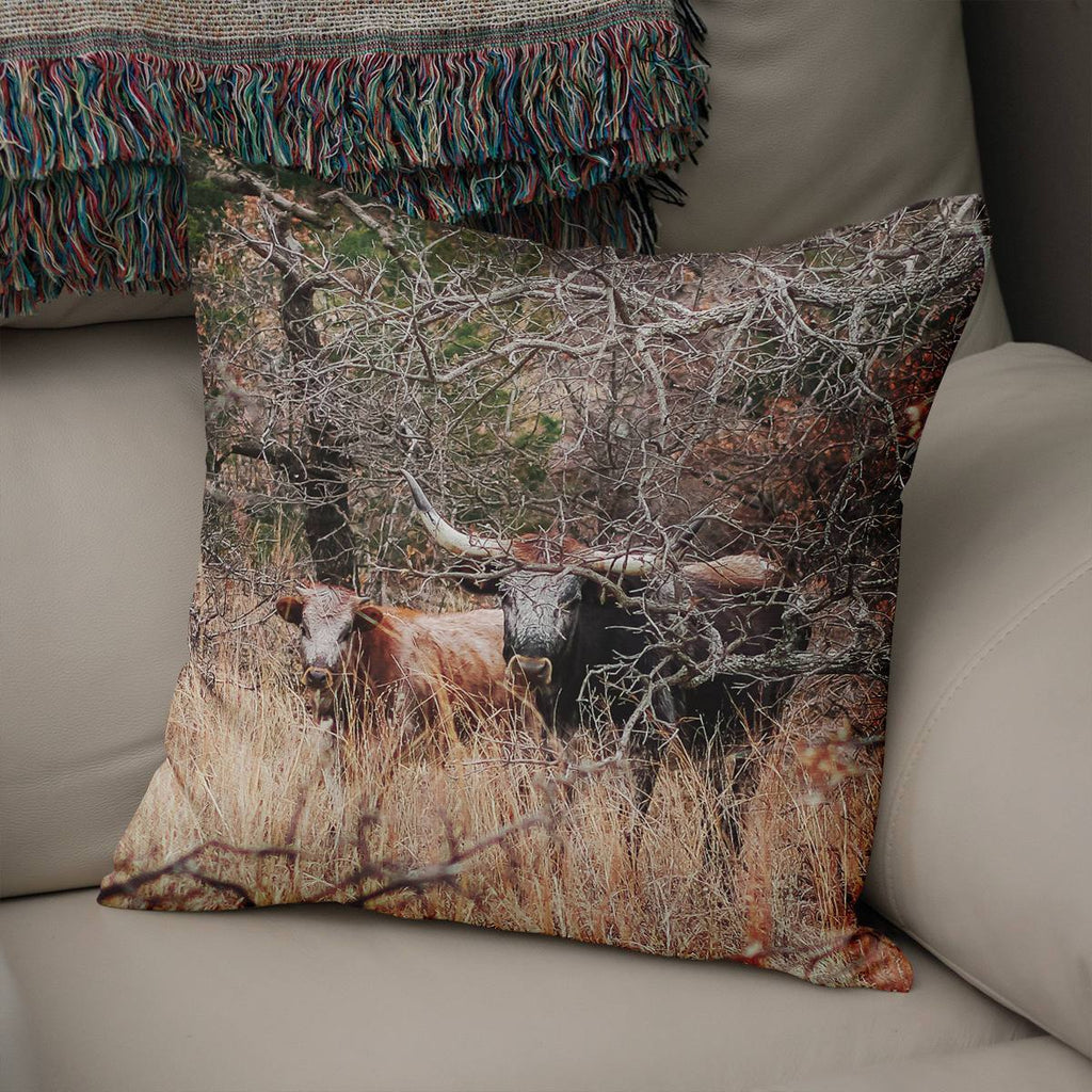 Wichita Mountains Wild Cows Throw Pillow Cover Lost in Nature
