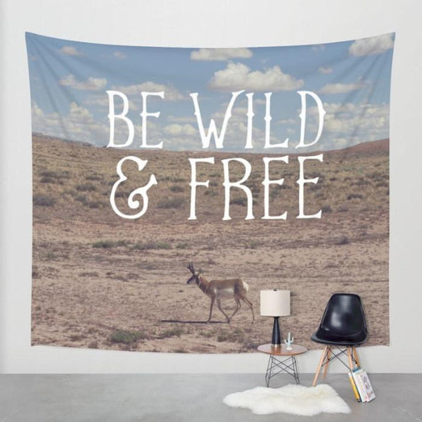 Wild and Free, Inspirational Wall Tapestry Lost In Nature