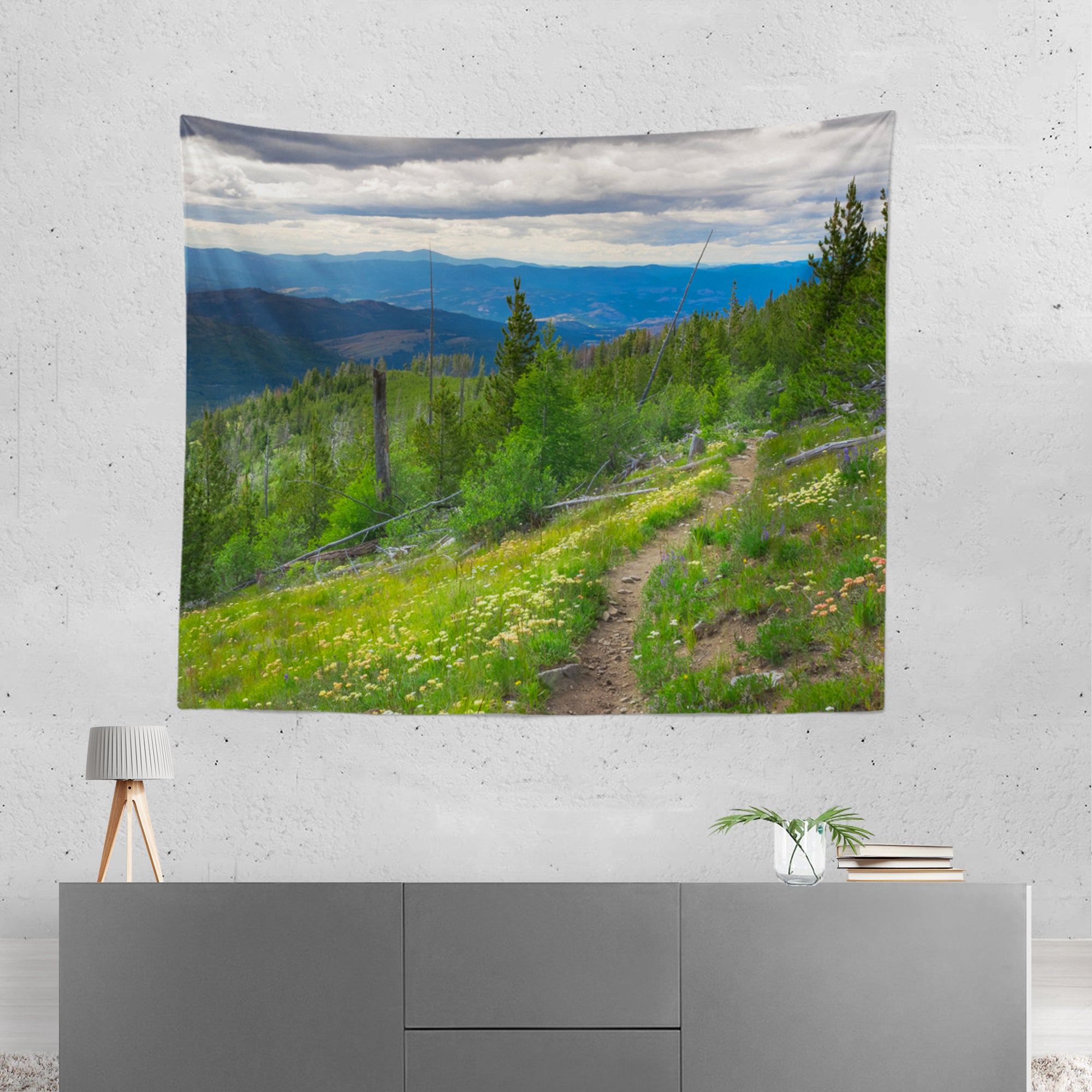 Mountain Trail Pacific Northwest Microfiber Wall Tapestry