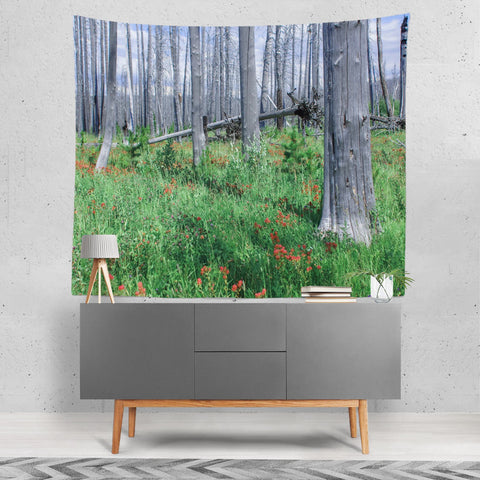 Wildflire Recovery Glacier National Park Wall Tapestry Lost in Nature