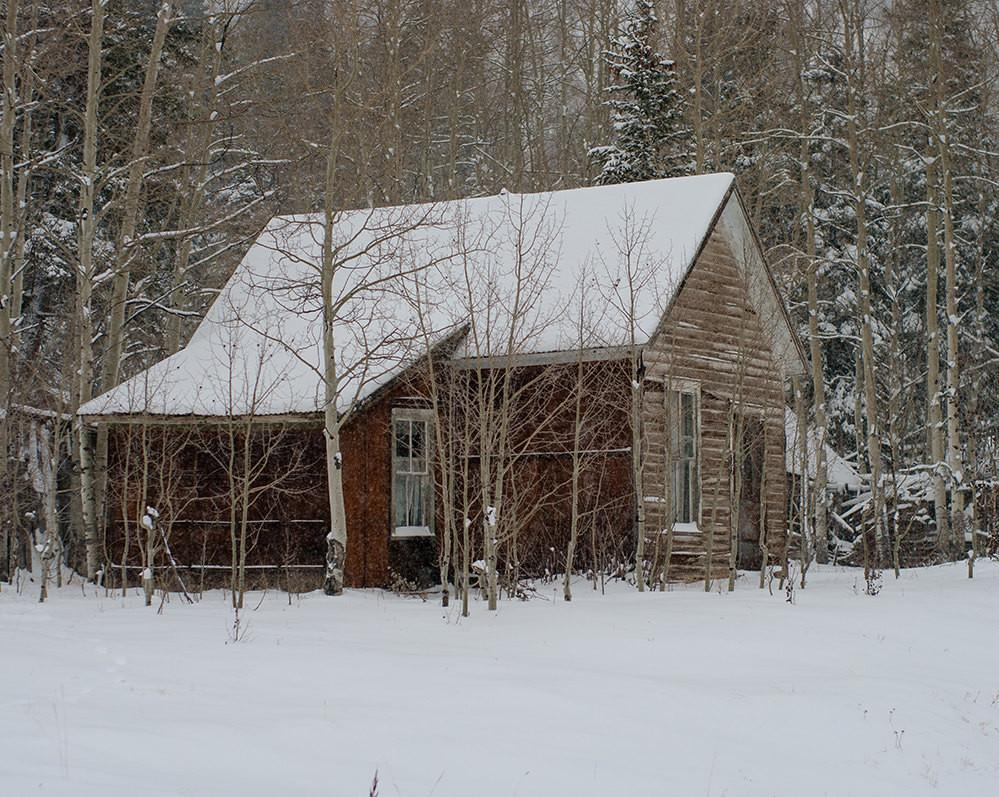 Winter Homestead Cabin, Rustic Colorado Photography - Fine Art Print Lost Kat Photography