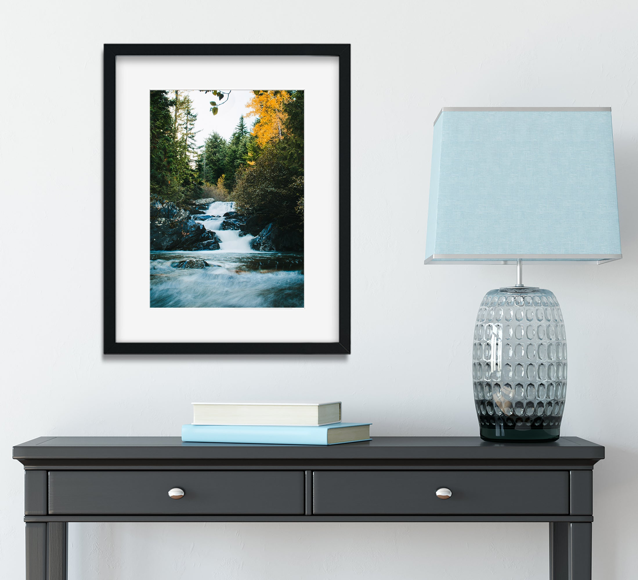 Autumn Waterfall in the Cascade Mountains Photo Print