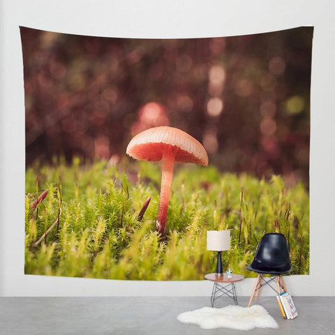 Woodland Mushroom Wall Tapestry Lost in Nature