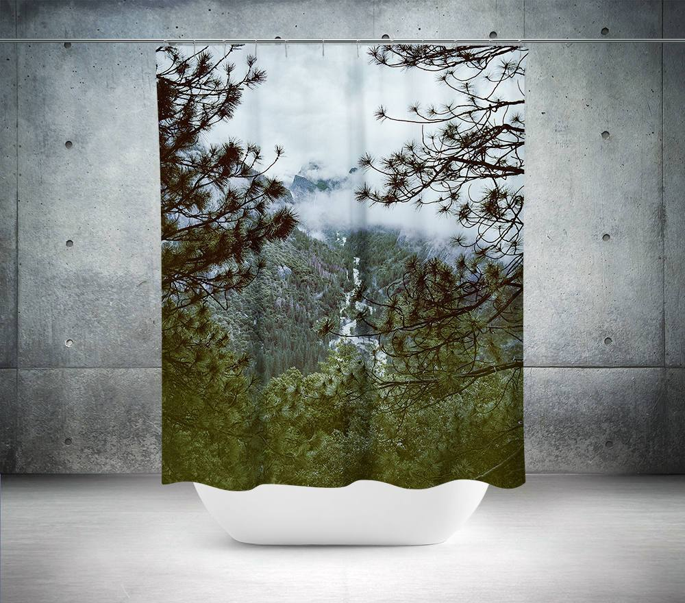 Yosemite Foggy Forest View Shower Curtain Lost In Nature