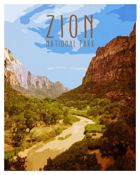 Zion National Park, Vintage Travel Poster Lost Kat Photography
