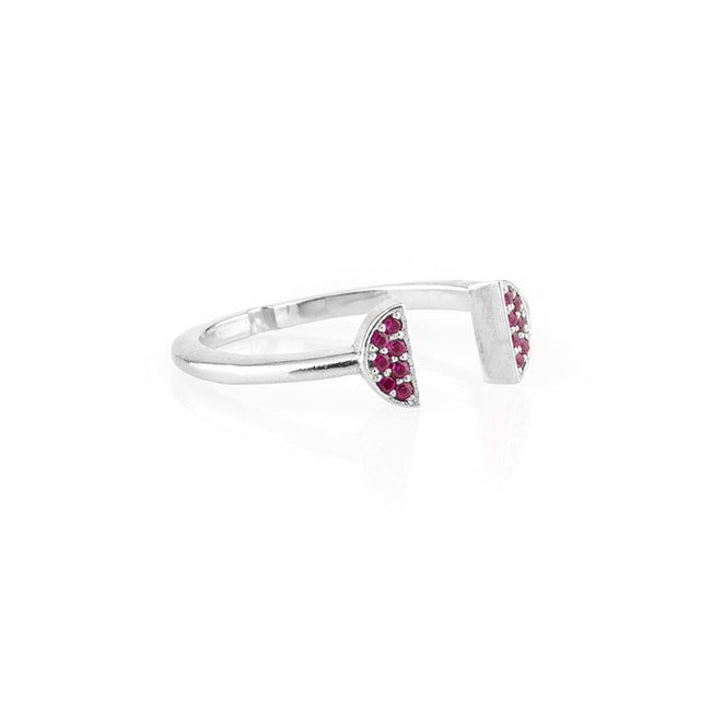 Halo Crown Ring Ruby White Gold