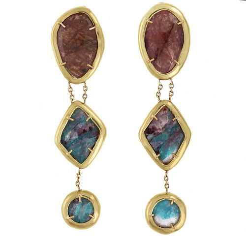 Bridgette Earrings: Sapphire & Paraiba Tourmaline