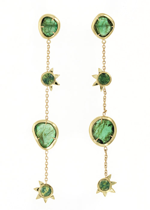 Esmeralda II Earrings: Emeralds & Sapphire