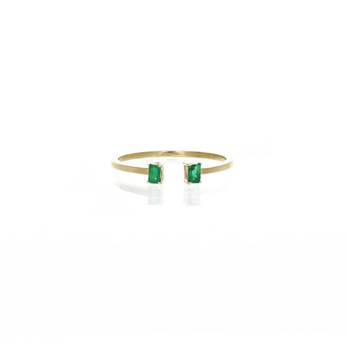 Mai Open Ring: Emeralds