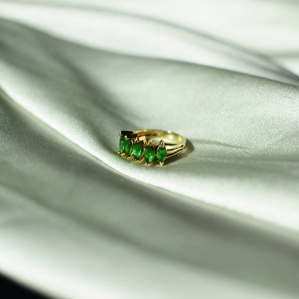 Emerald Marquise 5 Stone Ring
