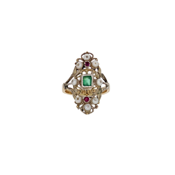 Victorian Emerald Pearl Ring 19th Century