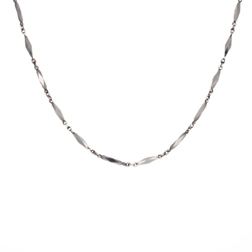 14kt White Gold Diamond Cut Chain