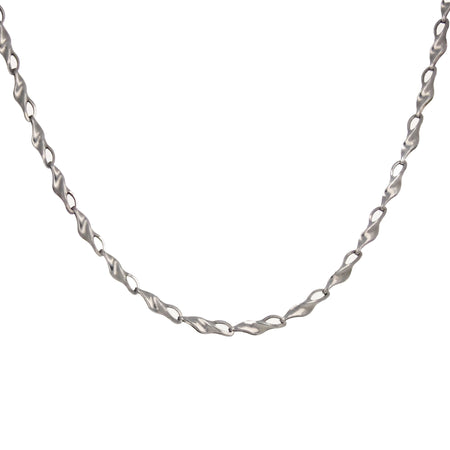14kt White Gold Box Chain Open Heart Necklace