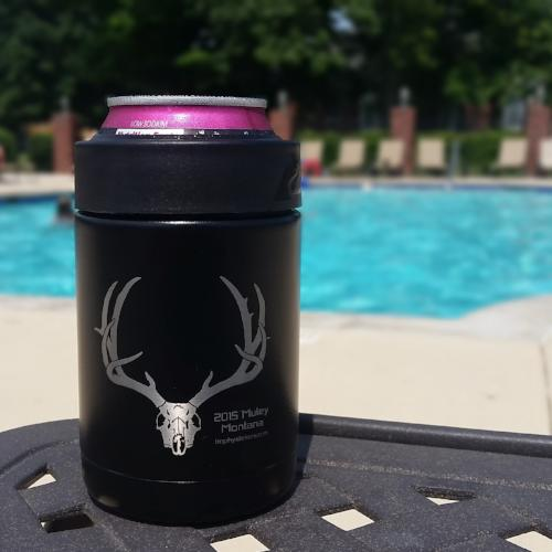 Trophystickers custom koozie with a massive buck on it