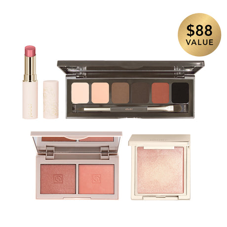 alt: away with jouer bundle includes a deluxe mini rose gold blush, jet-set eyeshadow palette with 6 shades, lip enhancer shine balm in peony, and powder highlighter in rose gold. $88 value, sold for $70.