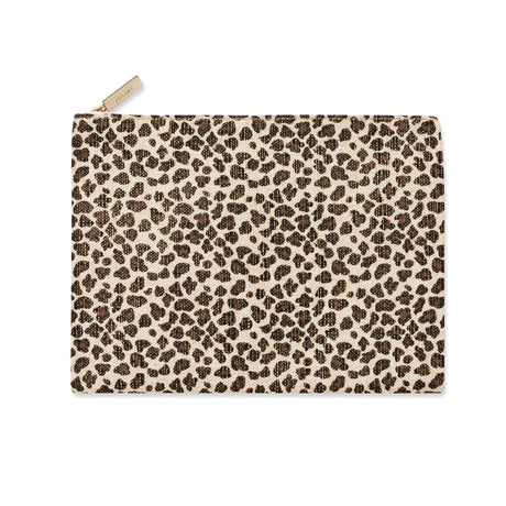 alt: flat leopard print canvas bag with zipper closure