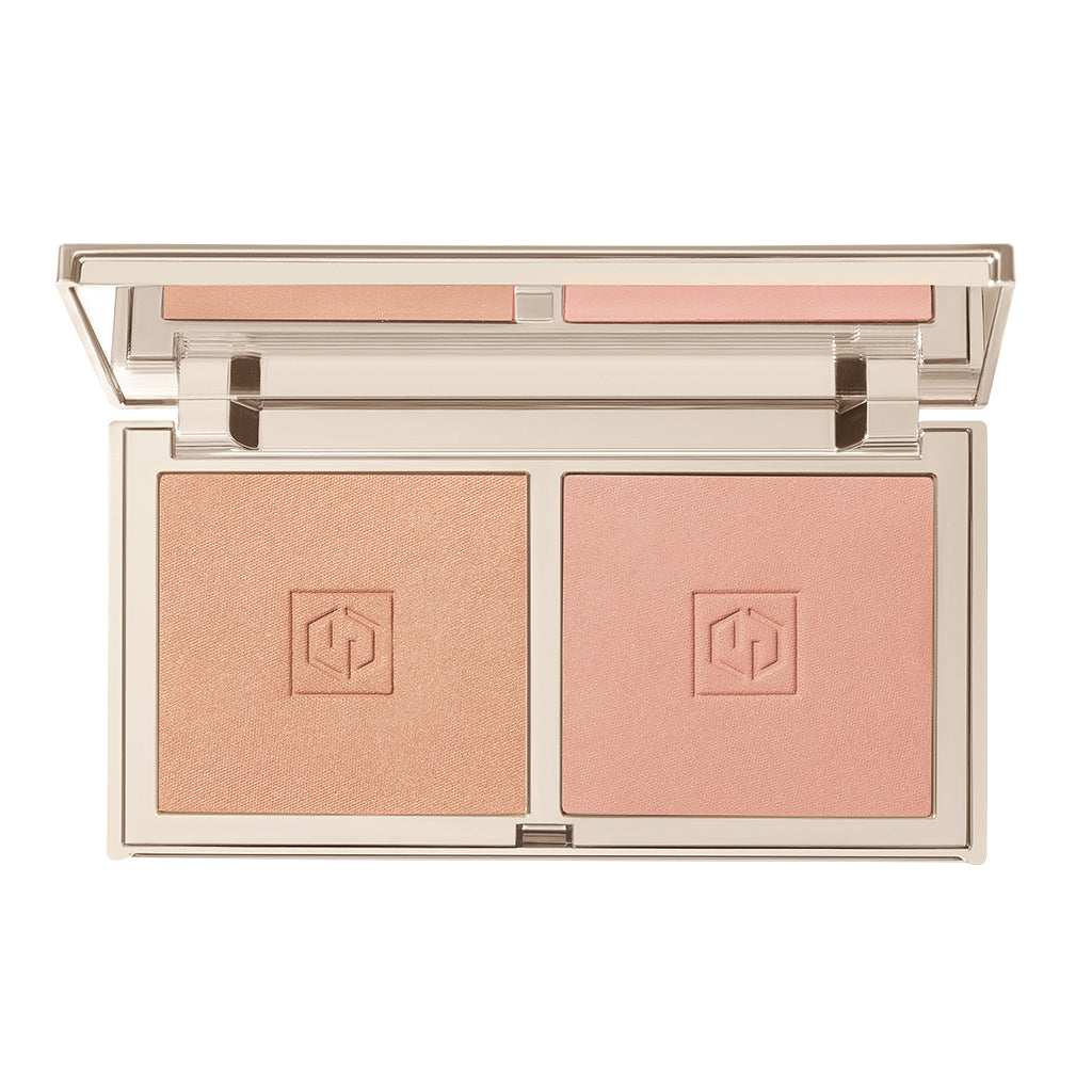 blush in Darling with shades Embrace Me (warm satin toast) & Love Me (warm satin peachy pink) compact