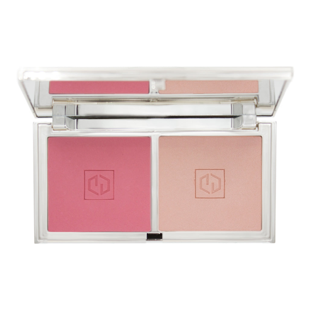 flirt blush with warm carnation pink & warm light peach shades, open compact