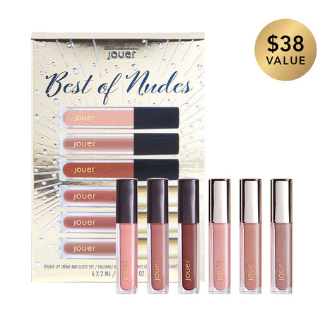 alt: best of nudes includes 2ml deluxe size matte lip cremes in ballerine (warm pink nude), terra (deep ochre), cherie (warm berry nude) and deluxe sheer pigment lip glosses in soiree (cool pink nude), rendezvous (sheer cool nude), diamond walk (cool dusty nude).