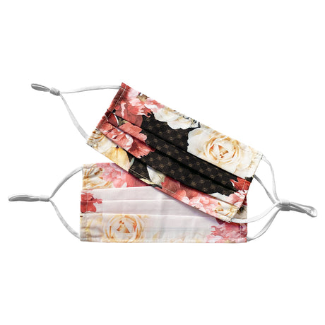 alt: floral face masks made with 100% polyester machine washable with adjustable straps. Comes in two shades. One white floral and one brown floral design.
