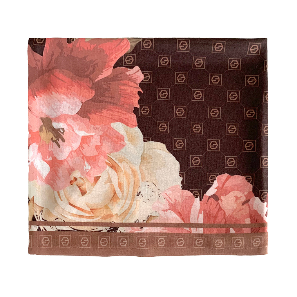brown floral square scarf/ bandana with jouer logo